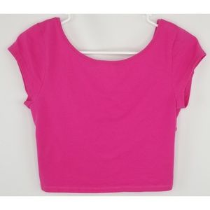 AEO Pink Crop Top Open/Criss Cross Back Size Med
